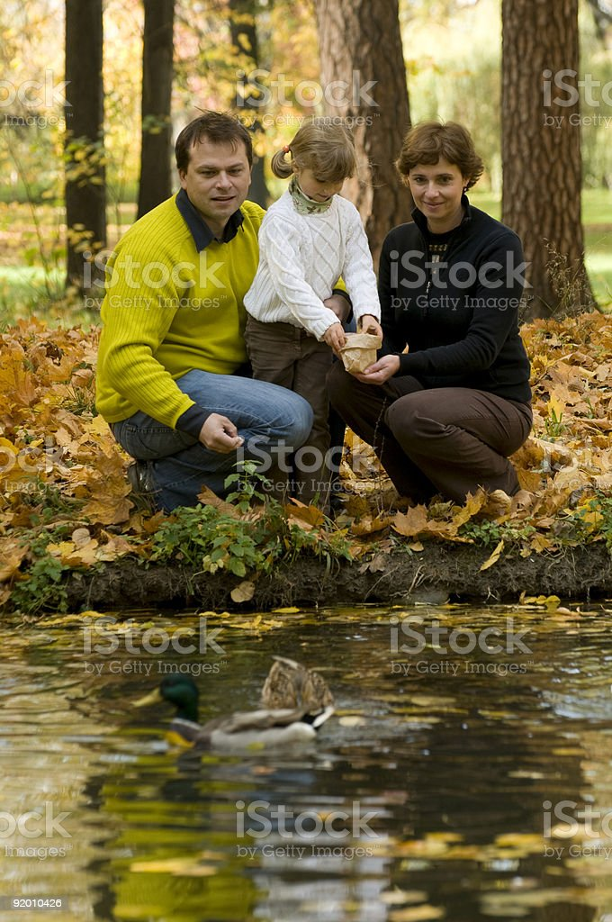 Family and ducks in autumn park royalty-free stock photo