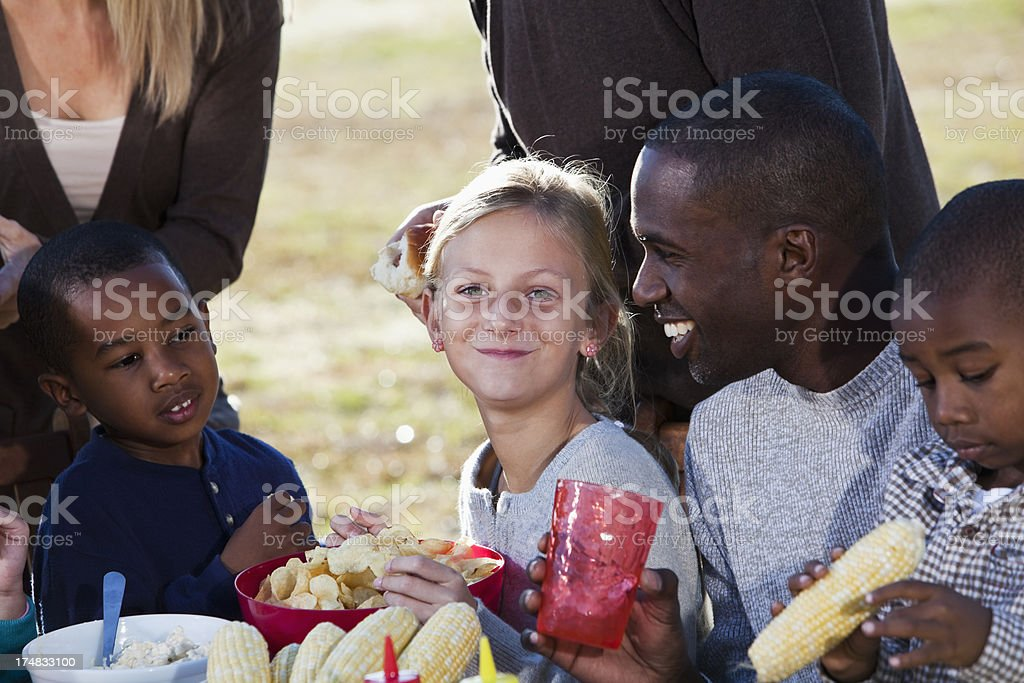 Family and friends at picnic stock photo