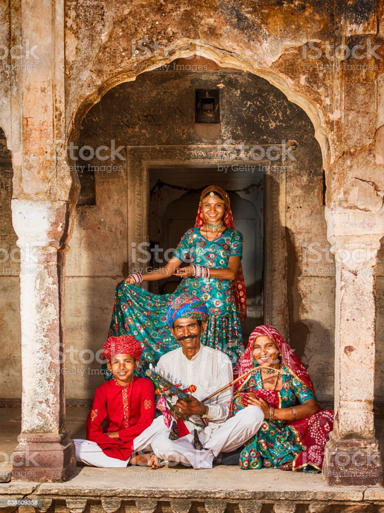 Family and traditional music group from Rajasthan, India stock photo