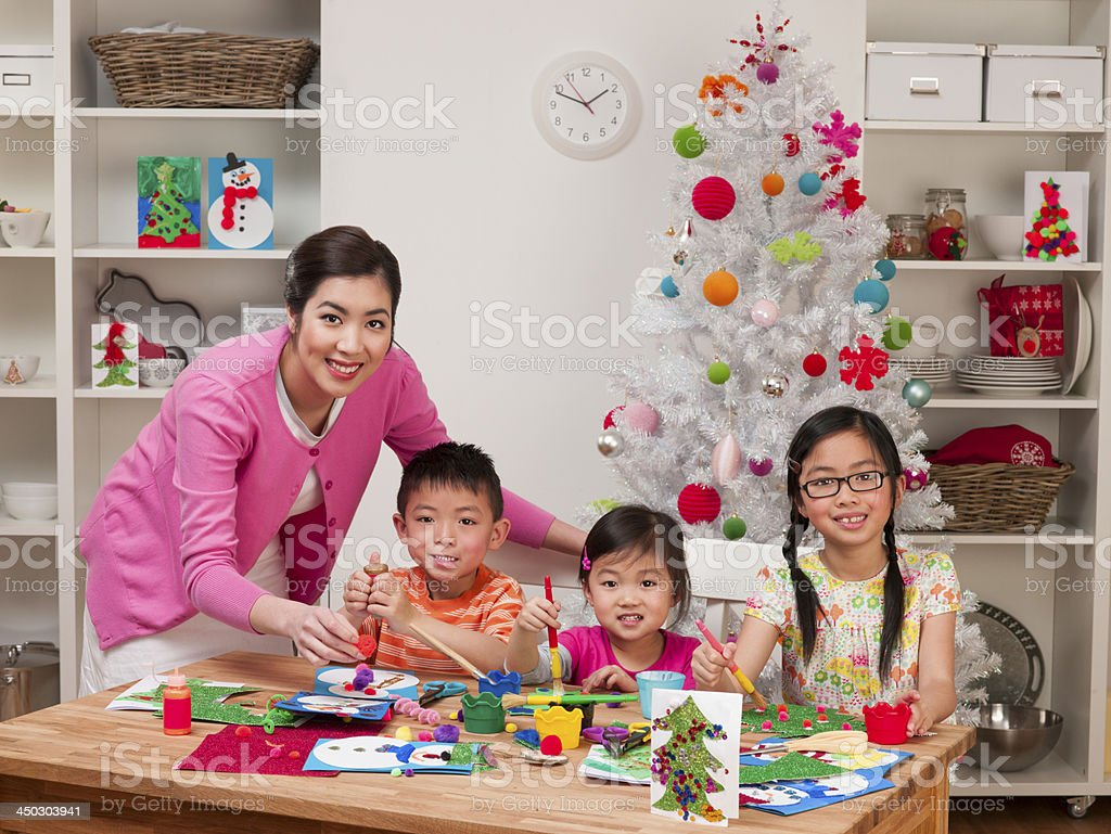 Family Arts and Crafts at Christmas stock photo