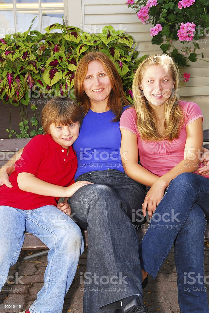 Family at a house royalty-free stock photo