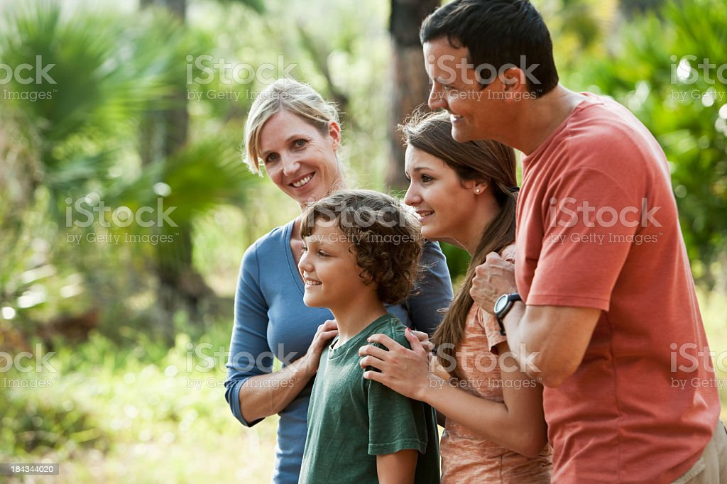 Family at a nature park stock photo