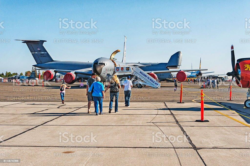Family at Air Show Mather California stock photo