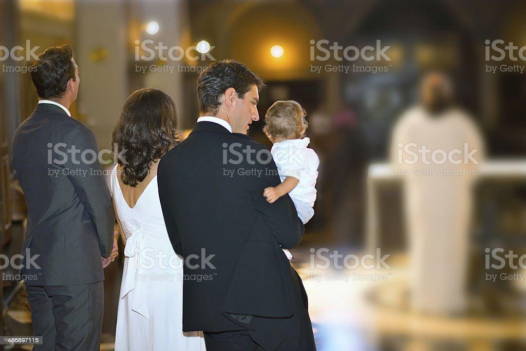 Family At Baptism stock photo
