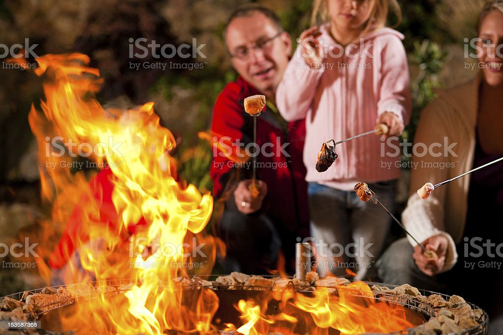 Family at barbecue in the evening stock photo