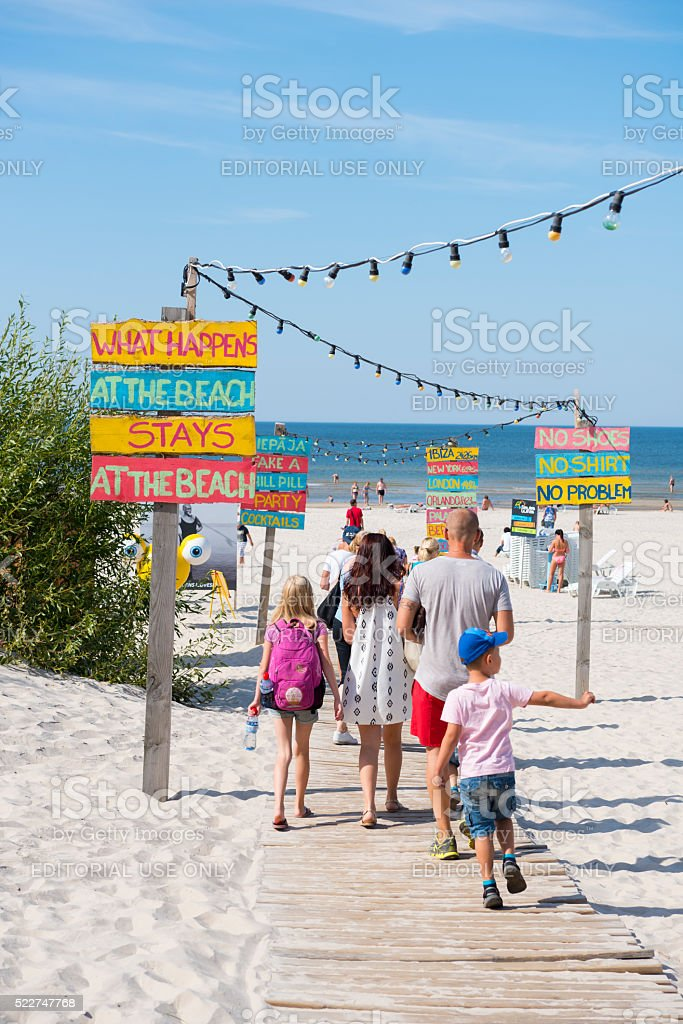 Family at beach in Liepaja, Latvia stock photo