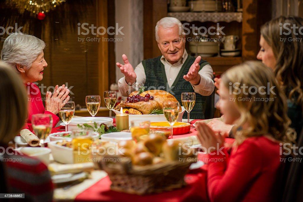Family at Christmas Dinner stock photo