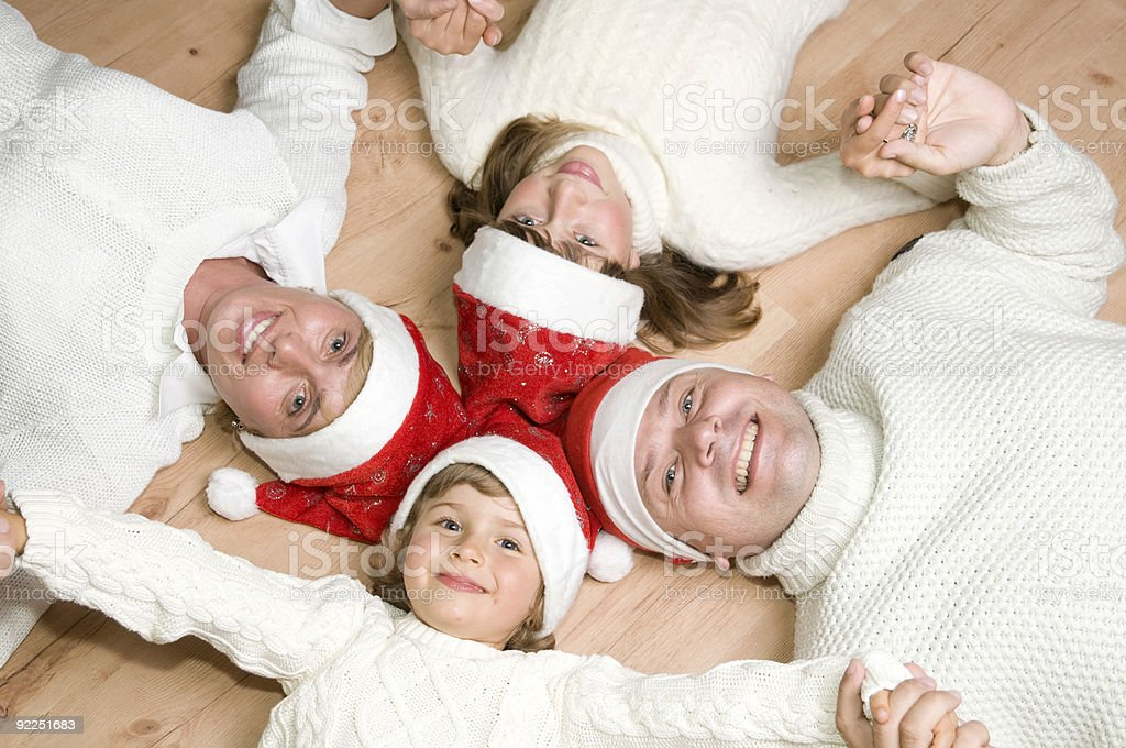 Family at Christmas time royalty-free stock photo
