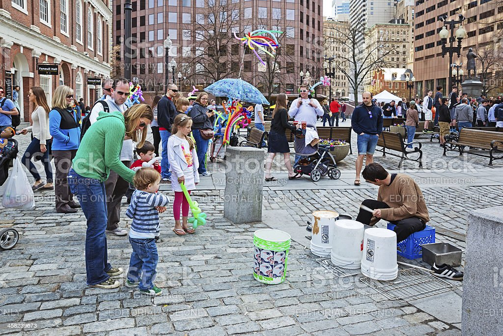 Family at Faneuil Hall in Boston Massachusetts USA stock photo