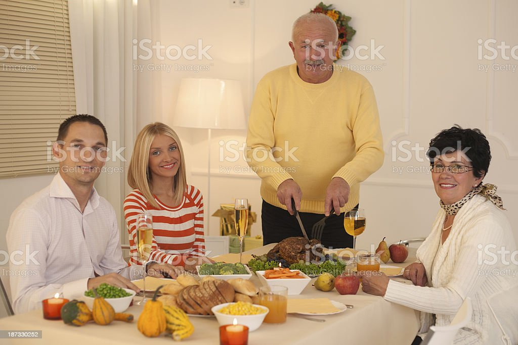 Family at thanksgiving day. stock photo