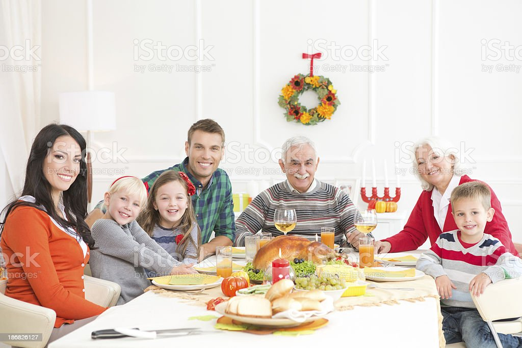 Family at thanksgiving dinner. royalty-free stock photo