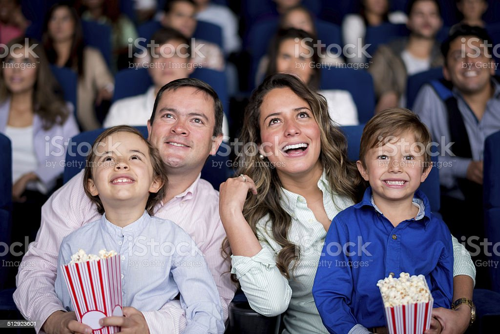 Family at the cinema stock photo