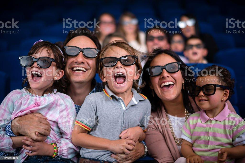 Family at the cinema stock photo