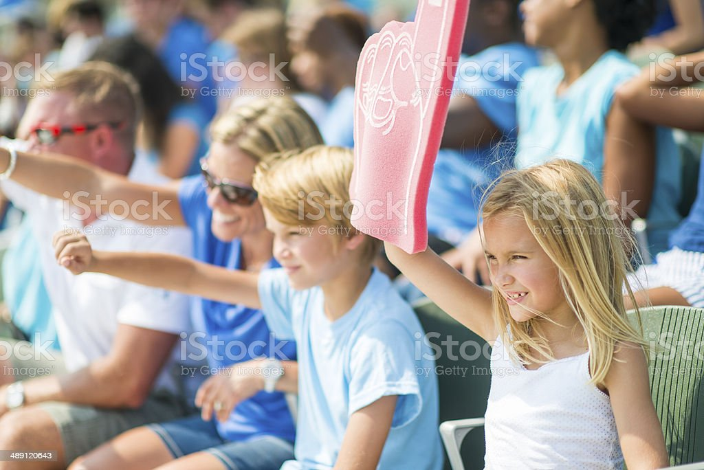 Family at the game stock photo