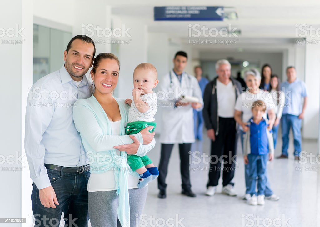 Family at the hospital stock photo