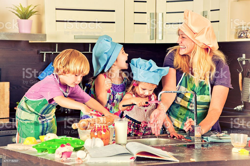 Family at the kitchen royalty-free stock photo