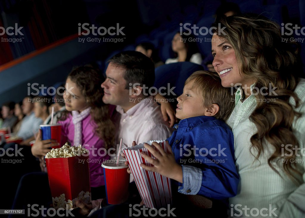 Family at the movies stock photo