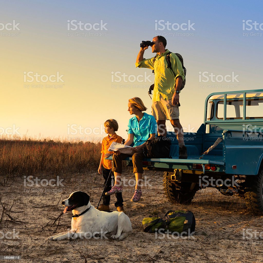 Family Backpacking stock photo