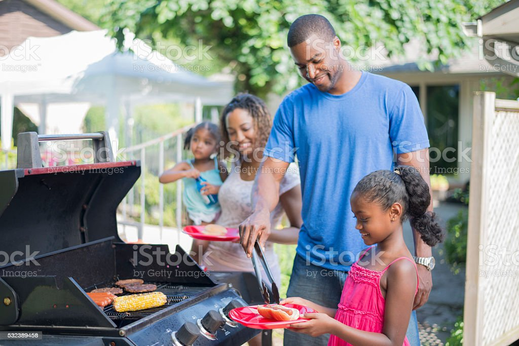 Family Barbecue on Father's Day stock photo
