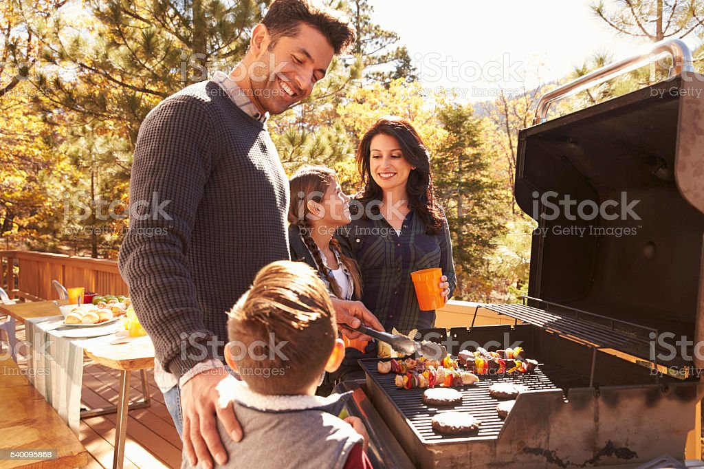 Family barbecuing on a deck in the forest stock photo