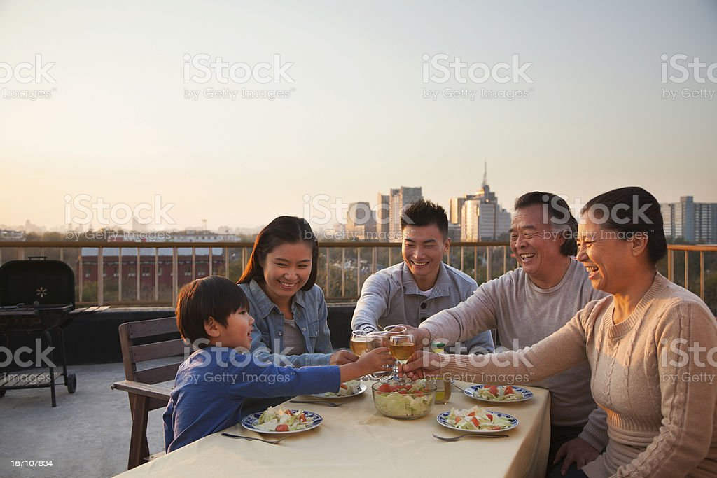 Family barbeque party, toast royalty-free stock photo