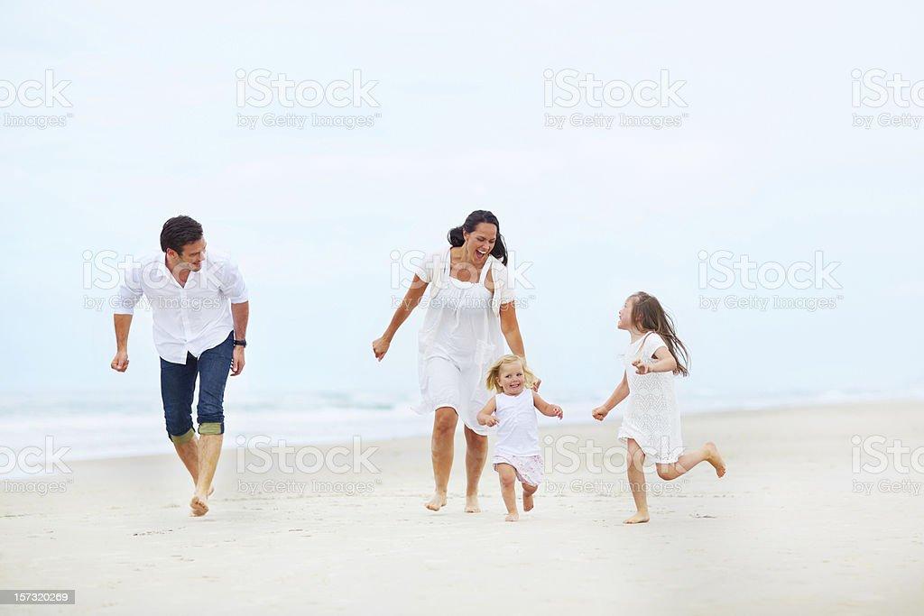 Family beach fun royalty-free stock photo
