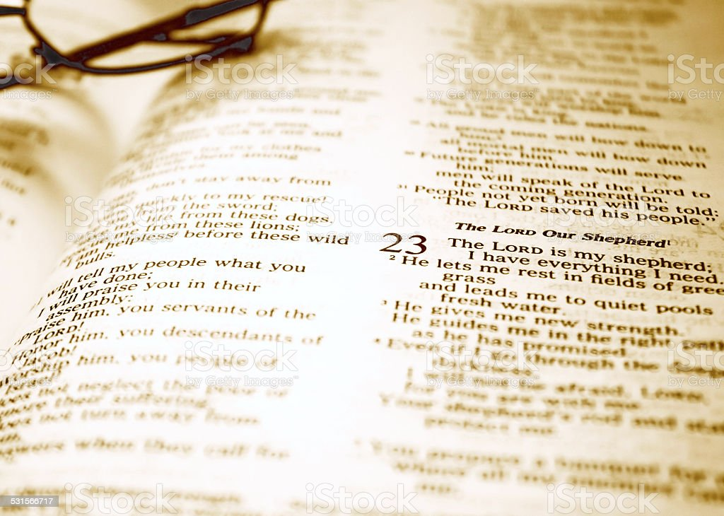 Family Bible - Psalm 23 stock photo