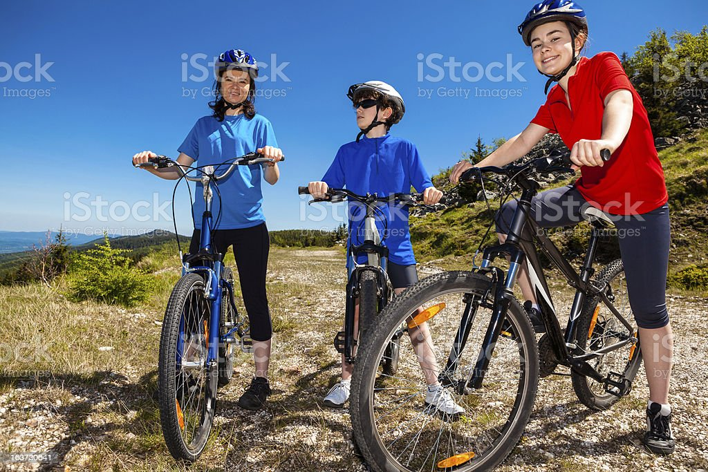 Family biking royalty-free stock photo
