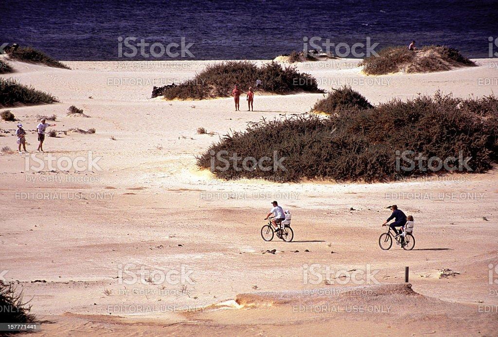 family biking to the beach royalty-free stock photo