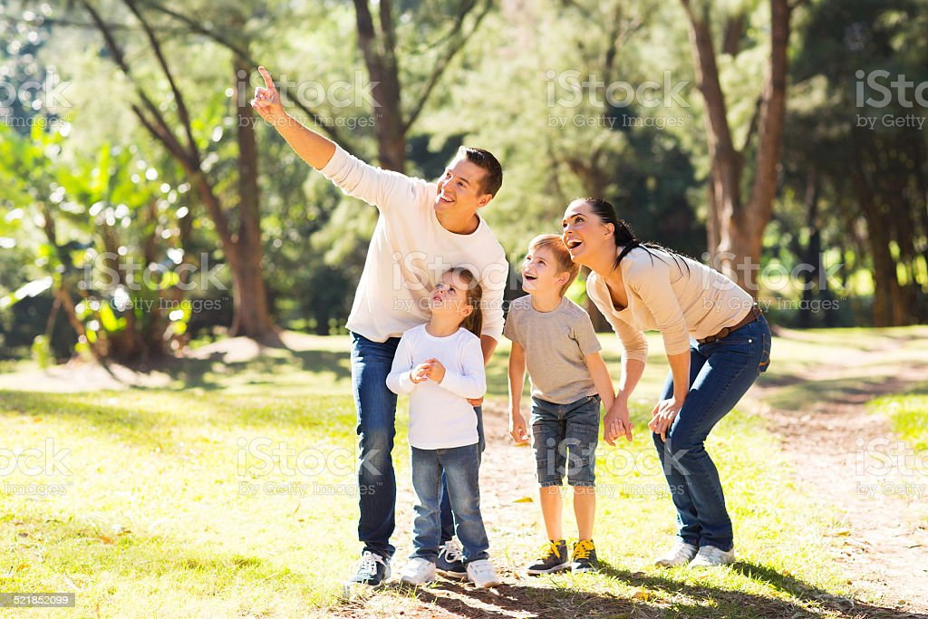 family bird watching in forest stock photo