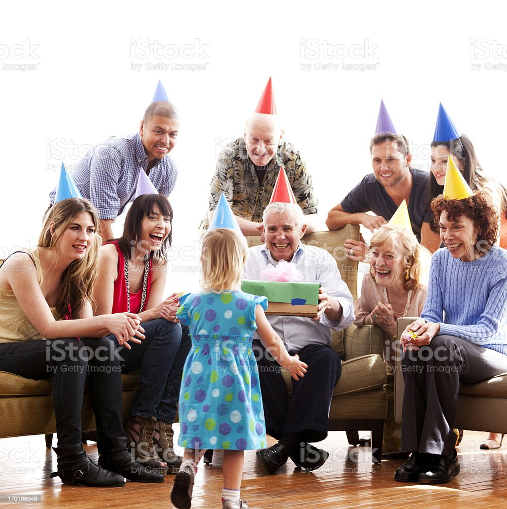 Family birthday celebration stock photo