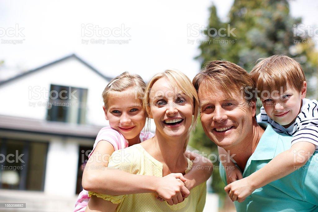 Family bonding in the garden royalty-free stock photo