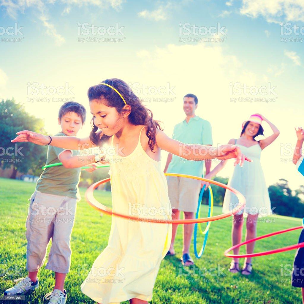 Family Bonding Park Relaxing Exercise Concept stock photo