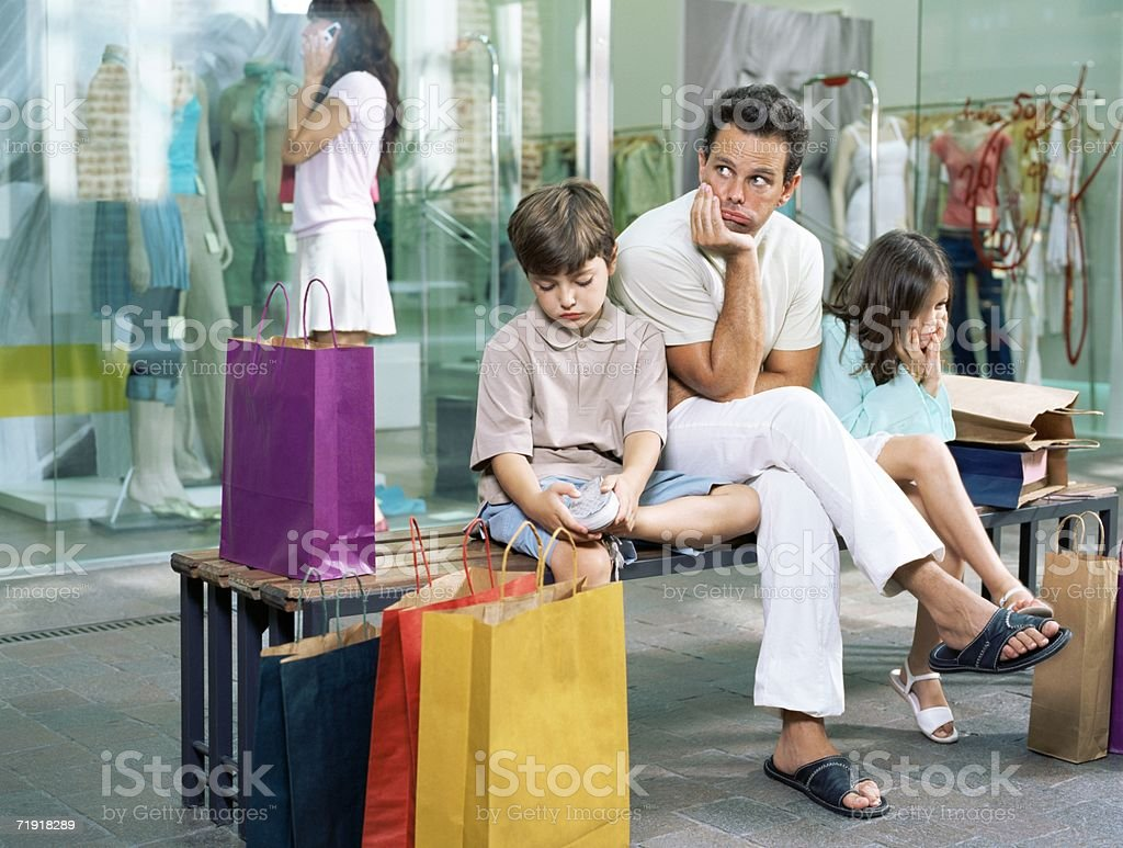Family bored with waiting royalty-free stock photo