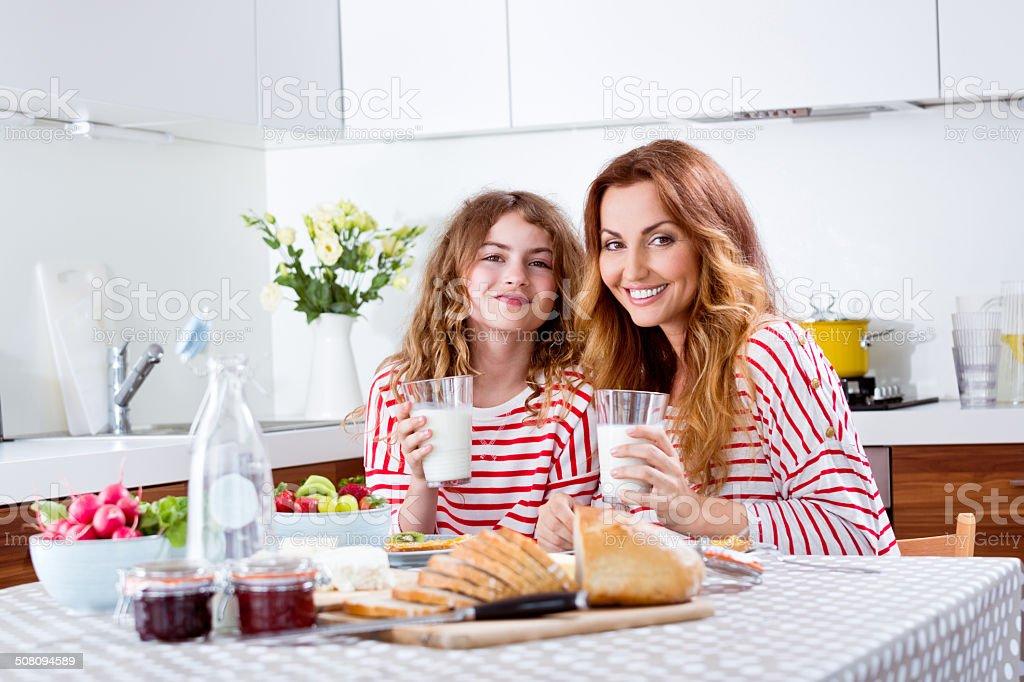 Family breakfast stock photo