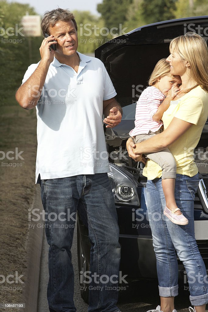 Family Broken Down On Country Road royalty-free stock photo