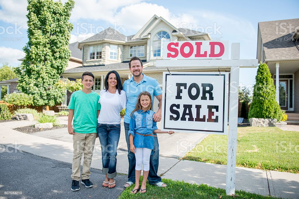 Family Buying a Home stock photo