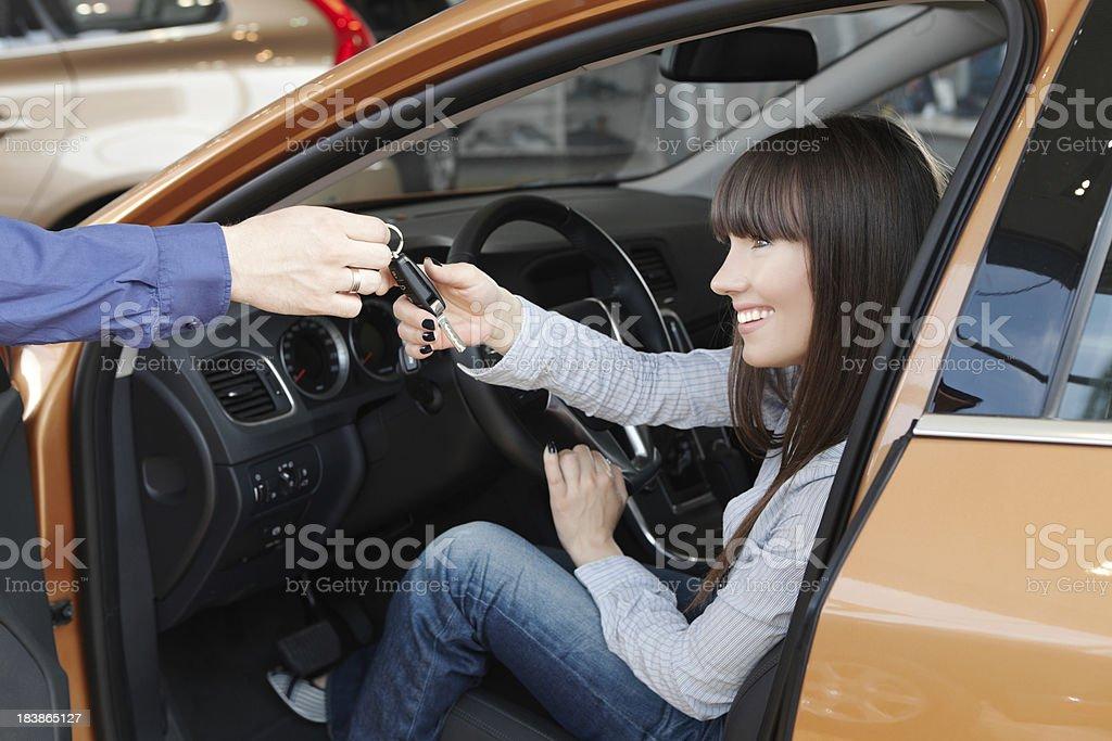 Family buying car. royalty-free stock photo