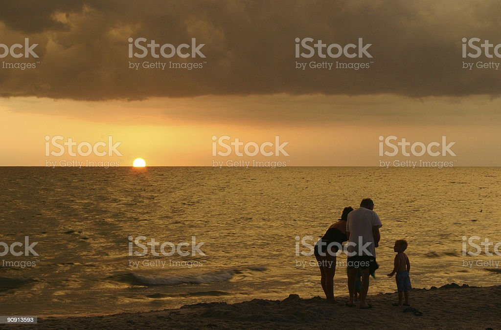 Family by sunset royalty-free stock photo