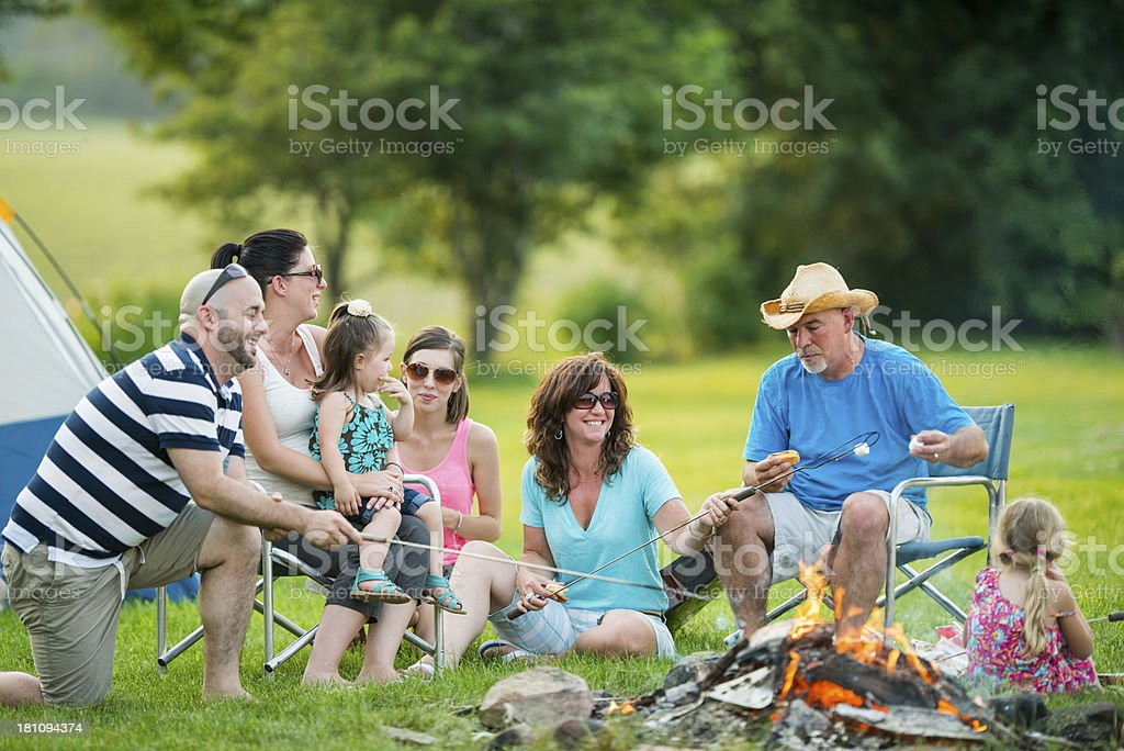Family Campfire royalty-free stock photo