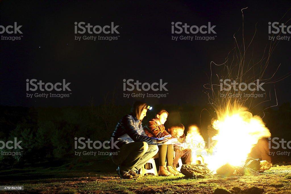 Family Campfire stock photo