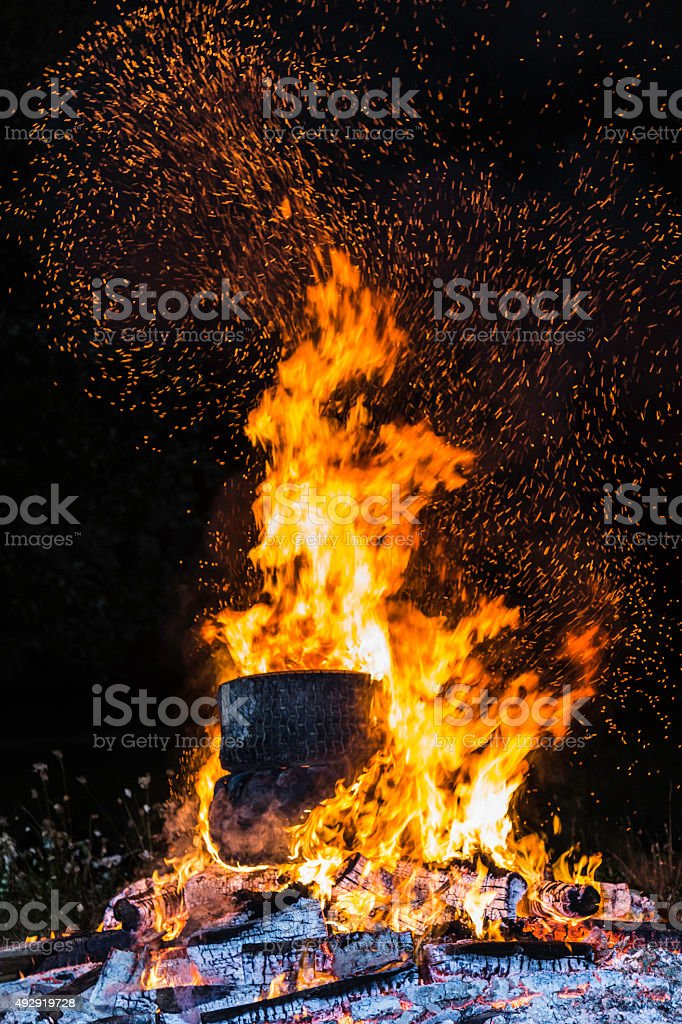 Family Campfire stock photo