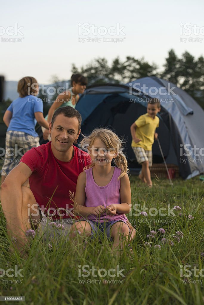 Family camping, having fun in the nature. royalty-free stock photo