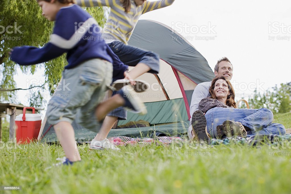 Family camping in remote area royalty-free stock photo