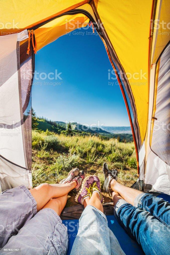 Family camping stock photo