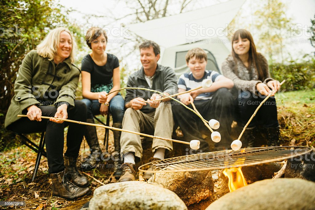 Family Camping toast marshmallows around a camp fire stock photo