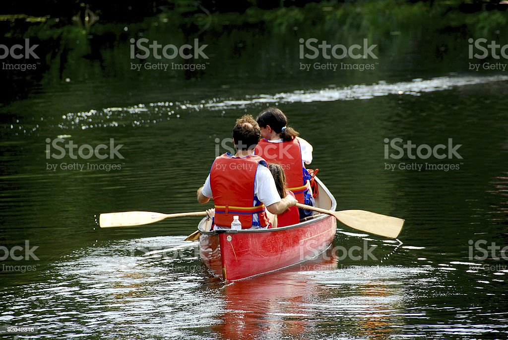 Family canoe river royalty-free stock photo
