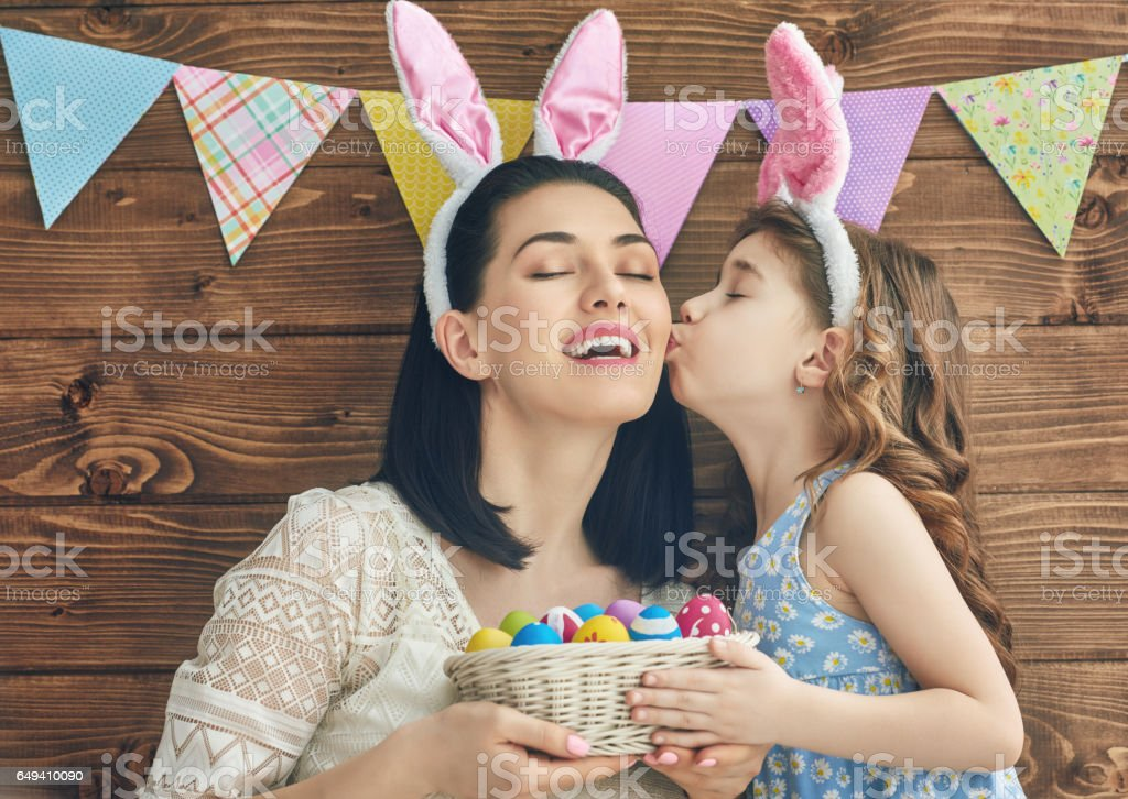 family celebrate Easter stock photo