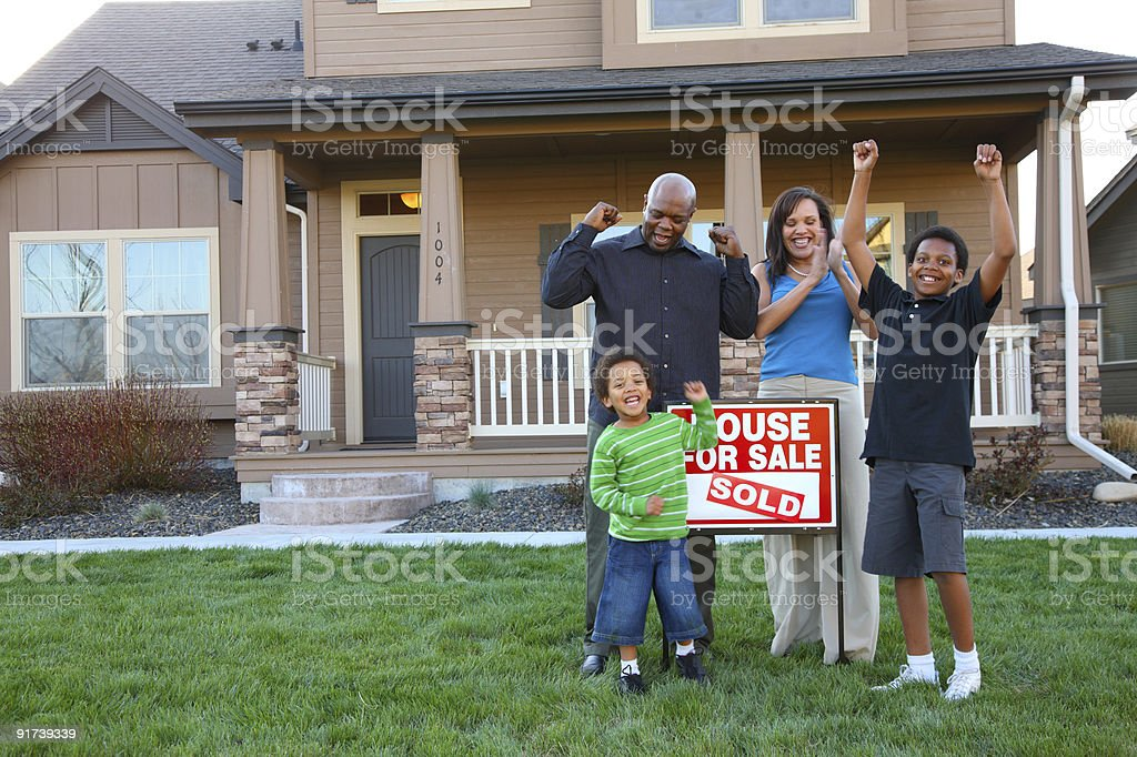Family celebrates new home purchase stock photo