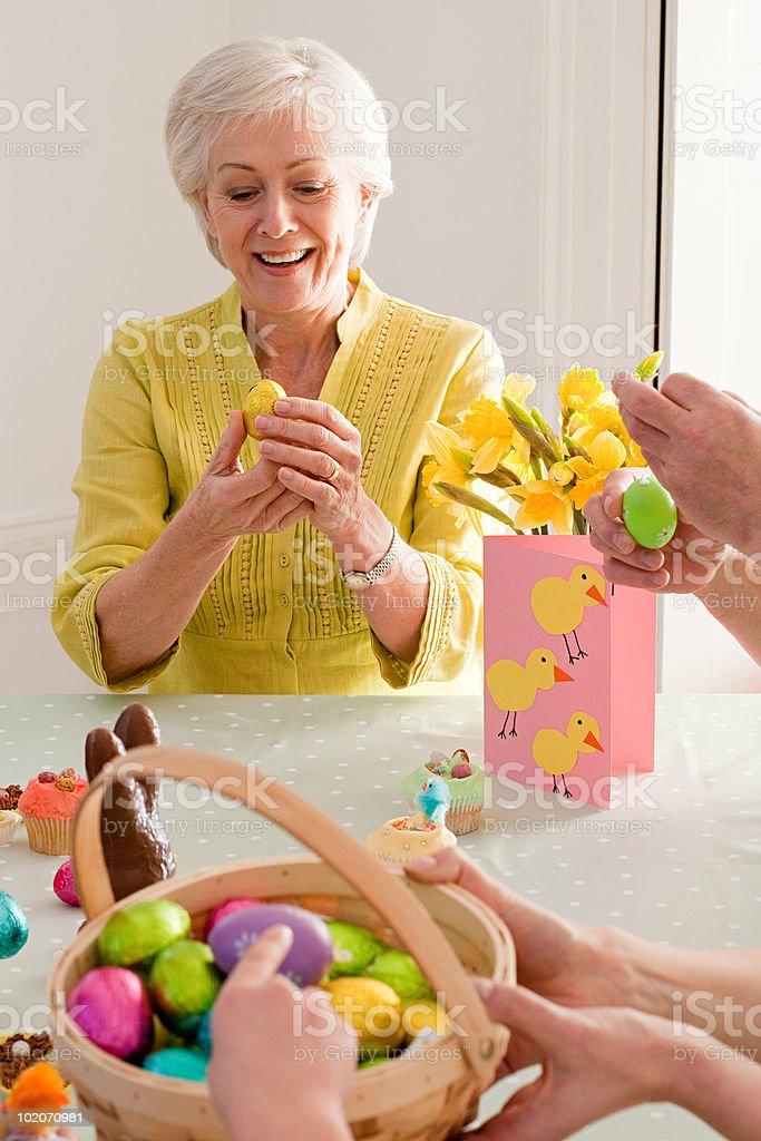 Family celebrating Easter royalty-free stock photo